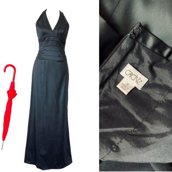 Cache Dresses & Skirts - Cache Black Satin Halter Evening Dress Sz 4